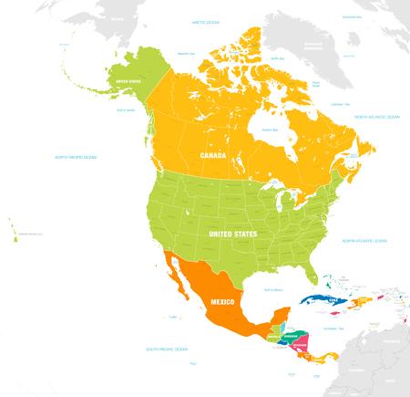 Wektorowa mapa kontynentu Ameryki Północnej i Środkowej z nazwami krajów, stolic, głównych miast oraz mórz i wysp w mocnych, jaskrawych kolorach.