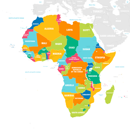 Vector map of Africa Continent with Countries, Capitals, Main Cities and Seas and islands names in strong brilliant colors. Ilustrace