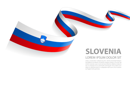 Vector Illustration Banner with Slovenia Flag colors in a perspective view