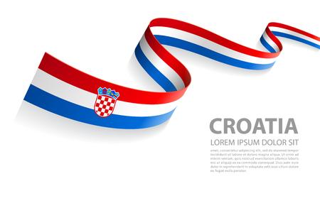 Bannière d'illustration vectorielle avec les couleurs du drapeau de la Croatie dans une vue en perspective Vecteurs