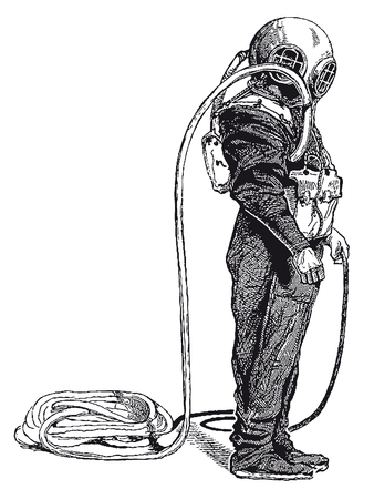 Full Vector illustration of a Vintage Highly detailed Deep Sea Diver Engraving Vektorové ilustrace