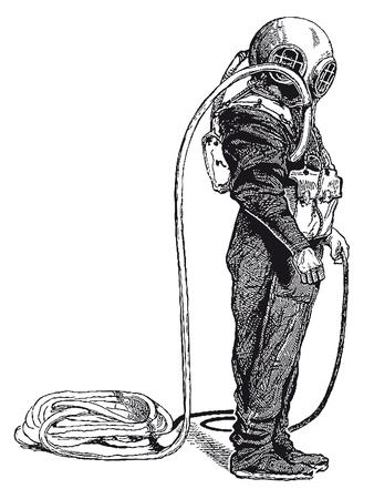 Vollständige Vektorillustration einer hochdetaillierten Tiefseetaucher-Gravur des Jahrgangs Vektorgrafik