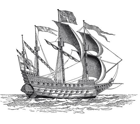 Volle Vektorillustration eines Weinlese-britischen Kriegsschiffgravurs Vektorgrafik
