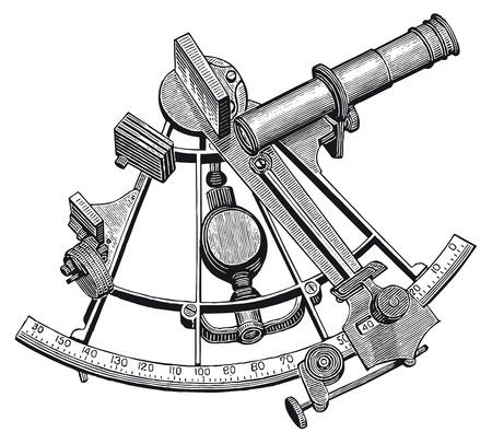 Ilustración vectorial completa Ilustración de un grabado sextante de alto detalle