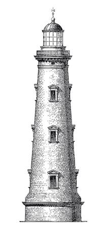 Full Vector illustration Illustration of a High Detail Vintage Lighthouse Engraving 写真素材 - 109948424