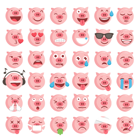Collection of 36 high quality vector emoticons illustrations Illustration