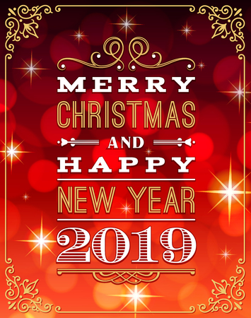 A nice Christmas and happy new year 2019 Greeting Card with red background Illustration