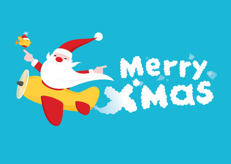 """Christmas Greeting card with Santa claus flying an airplane leaving bexind a """"Merry Xmas� text with airplane smoke"""