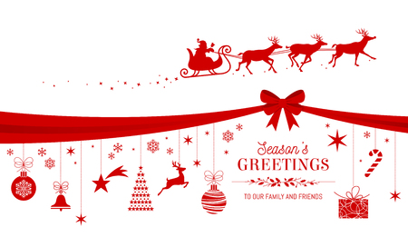 Christmas greetings card design template with candies and ornaments hanging from a red ribbon and Santa's Sled flying over