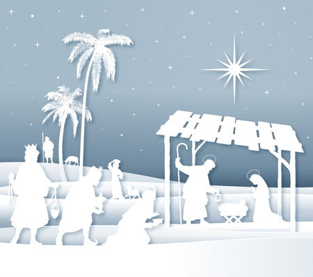 Vector Illustration of a Christmas Nativity scene with Magi and shepherds white silhouettes with soft shadows.