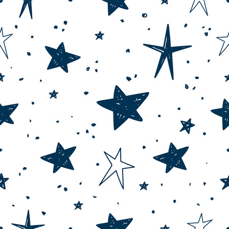 Vector Illustration Pattern with hand drawn Stars