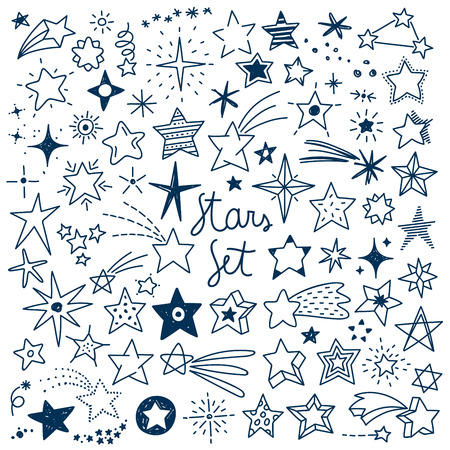 Vector Illustration set with all kinds of hand drawn Stars