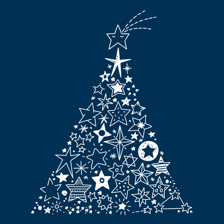 Vector Illustration of a Christmas tree created by all kinds of hand drawn Stars