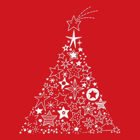 Vector Illustration of a Christmas tree created by all kinds of hand drawn Stars on a red Background