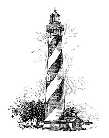 Full Vector illustration Illustration of a High Detail Vintage Lighthouse Engraving