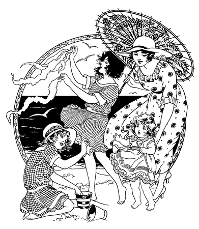 Full Vector illustration of a Vintage Highly detailed Engraving about Women at the Beach Illustration