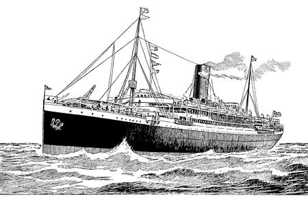 Full Vector illustration of a Vintage Highly detailed Transatlantic Ship Engraving