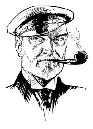 Full Vector Illustration of a beautiful Vintage Ship Captain Portrait Engraving