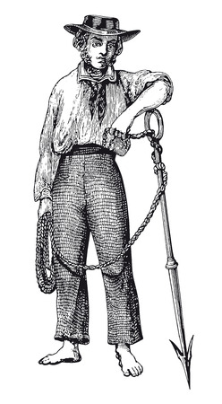 Full Vector illustration of a Vintage Highly detailed harpooner Engraving