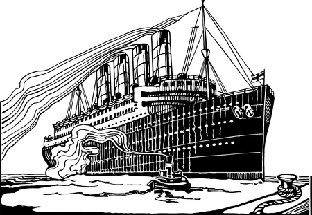 Full Vector illustration of a Vintage Highly detailed Transatlantic Ship Engraving