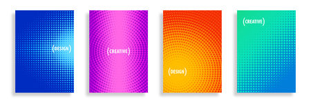 Four rectangular shape Half-Tone Vector Pattern Backgrounds filled with Vibrant Colors.