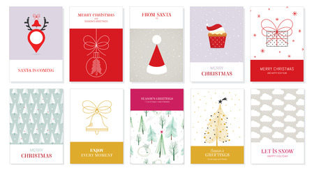 Collection of Christmas Greeting Cards With a minimal hand drawn style