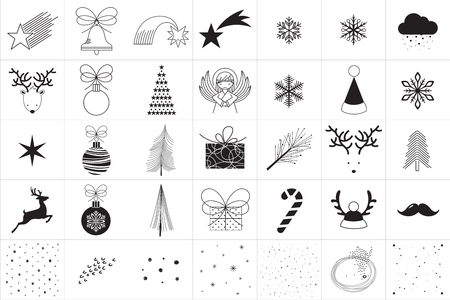 Collection of Christmas Icons in minimal vector style