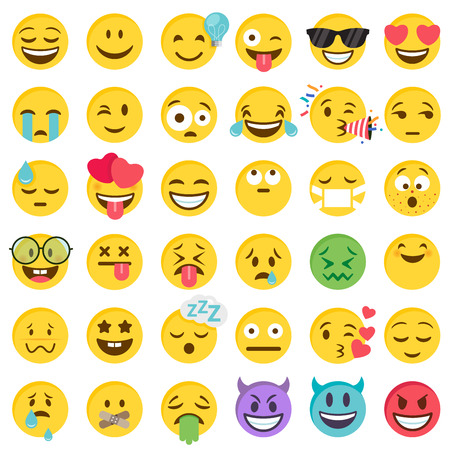 Big Set of 36 high quality vector cartoonish emoticons, in flat design style Reklamní fotografie - 118916844