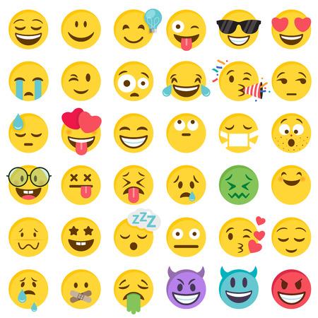 Grote set van 36 hoogwaardige vector cartoonachtige emoticons, in platte ontwerpstijl Vector Illustratie