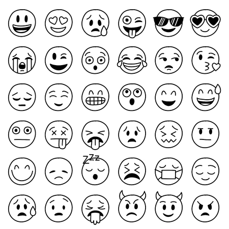 Big Collection of hand drawn vector funny emoticons
