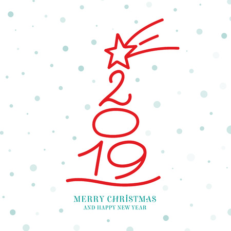 Vector Greeting card design with a christmas tree created by a Falling Star and 2019 numbers and Merry Christmas and Happy new Year for 2019 message