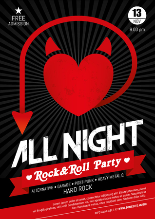 Vector Red, Black and White poster for Live Rock Music Events