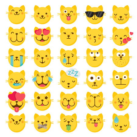 Set of 25 Cat vector emoji emoticons with flat graphical style