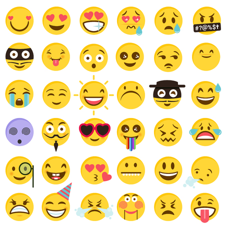 Big vector set of funny Emoticons in flat cartoon style