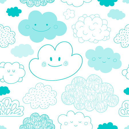 Vector Collection of hand drawn sketch cartoon clouds forming a Seamless Pattern