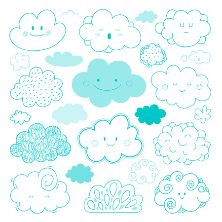 Vector Collection of hand drawn sketch cartoon clouds