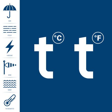 Modern set of Meteorological weather icons. Full Vector illustrations Illustration