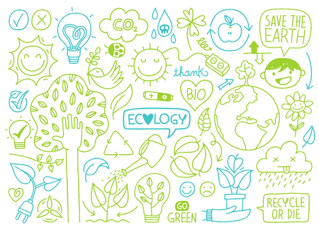 set of ecology sketches and green energy hand-drawn icons vector illustrations Illustration