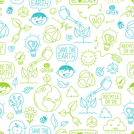 Ecology wallpaper seamless Pattern with Colorful sketch Icons and concepts
