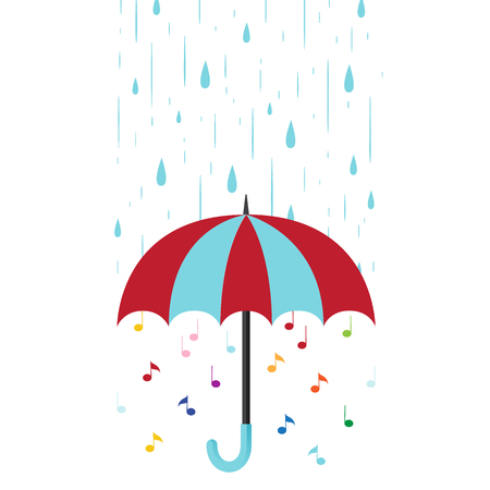 Musical background with umbrella and rain. Flat style vector illustration