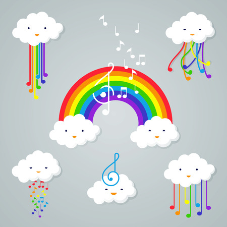 Set of Cartoon clouds and rainbow icon illustrations.