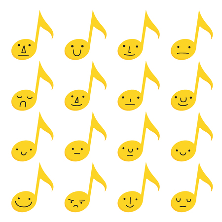Set of sixteen yellow musical notes with emoji expressions on a white background