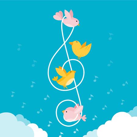 Musiknoten mit Vögeln. Bunte Illustration des niedlichen kleinen Vogelfliegens, zusammengebunden von einem musikalischen Notenschlüssel.