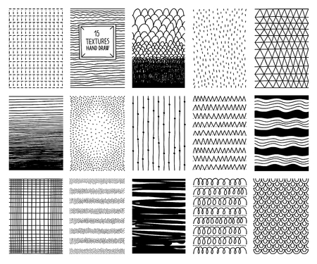 Set of hand drawn textures and patterns. Vector design elements