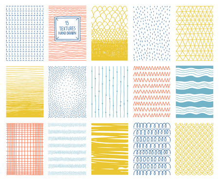 Hand drawn colorful vector textures with lines, dots and scribbles for graphic design