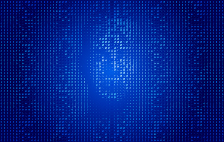 Binary Code face technology concept background for artificial intelligence and machine learning