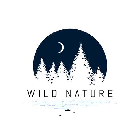 Forest Landscape Silhouette design inside a Circle geometric shape Illustration