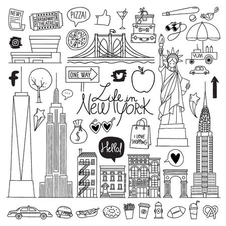 New York. Hand drawn vector set