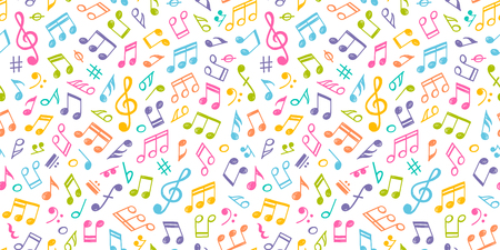 White musical Seamless Texture with colorful notes.