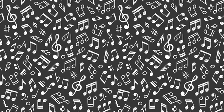 White music notes on black, seamless pattern